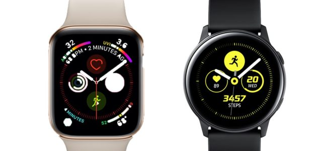 Featured Image for Samsung Galaxy Watch Active vs. Apple Watch Series 4: rival wearables compared